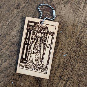 High Priestess Tarot Card Leather Keychain